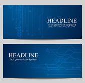 Tech banners with circuit board design — Stockvektor