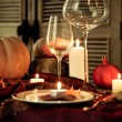 Autumn place setting. Thanksgiving dinner — Stockfoto #52405947