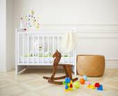 Empty cozy nursery room in light tones — Stock Photo
