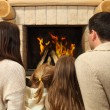 Young happy mother, father and two daughters by a fireplace — Stock Photo #53803829