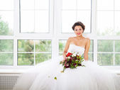 Bride holding unusual wedding bouquet  — Stock Photo