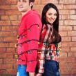 Happy young couple near brick wall with garland — Stockfoto #55861341