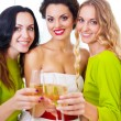 Bride and bridemaids holding wedding glass with champagne — Stock Photo #55861345