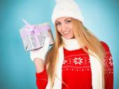 Happy young woman with Christmas present  — Foto de Stock