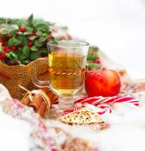 Christmas still life with a Christmas decorations and hot tea ne — Stock Photo