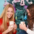 Smiling two friends having Christmas coffee — Stock Photo #56570033