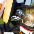 Professional golf gear on the golf course at sunset — Stock Photo #61966861