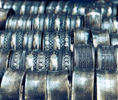 Metall bracelets on the market of Tunisia — Stock Photo