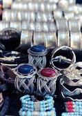 Traditional metal bracelets on the market of Tunisia — Stock Photo