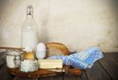 Fresh bread and dairy products — Stock Photo