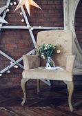 Wedding bouquet on the armchair — Stock Photo