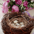Flowers and easter nest with eggs on rustic wooden background — Stock Photo #64451749