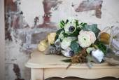 Wedding bouquet with ranunculus, freesia, roses and white anemon — Stok fotoğraf