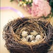Flowers and easter nest with eggs on rustic wooden background — Stock Photo #67642229