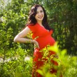 Beautiful pregnant woman in red dress in the flowering spring pa — Stock Photo #70652787