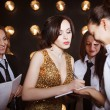 Superstar woman crowded by paparazzi — 图库照片 #70652861