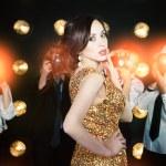 Superstar woman posing to paparazzi — Stock Photo #70652903