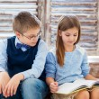 Children reading book in living room — Stock Photo #71942009