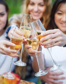Celebration. People holding glasses of champagne making a toast — Stock Photo