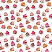 Seamless pattern  with different cakes — Stock Vector