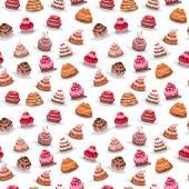 Modèle sans couture avec différents gâteaux — Vecteur