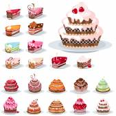 Set with different cakes — Vector de stock
