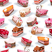 Seamless pattern with cake slices — Stock Vector