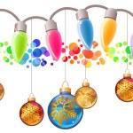 Seamless festive Christmas garland with glass balls — Stock Vector #55354809