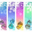 Four abstract vertical winter banners with balls — Stock Vector #55355639