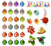 Different christmas glass balls on white — Stock Vector