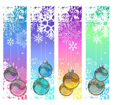 Four abstract vertical winter banners with balls — Stock Vector
