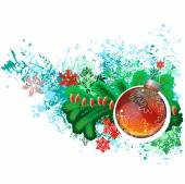 Modern trendy christmas picture with green branch of fir and glass ball. . — Stockvektor