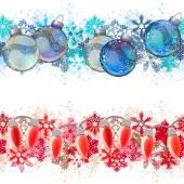 Two different seamless christmas borders. Ideal for realistic decoration — Stock Vector
