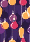 Hanging Christmas bals. Seamless. Vector illustration — Stock Vector