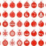 Big set with contour stylized Christmas balls — Stock Vector #59176919