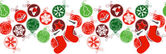 Seamless horizontal border with Christmas decoration — Stock Vector