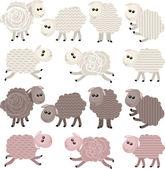 14 stylized sheep isolated on white background — Stock Vector