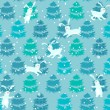 Seamless blue pattern with trees and rabbits  — Stock Vector #62762869