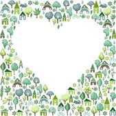 Heart  background made of  trees. — Stock Vector