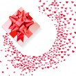 Box with red bow and confetti hearts on white — Stock Vector #63071439