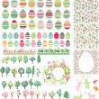 Big collection with easter eggs and spring trees — Stock Vector #65137841