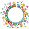 Bright frame with easter eggs and spring flowers — Stock Vector #65137965