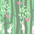 Seamless horizontal pattern with trees and rabbits — Vetor de Stock  #65138025