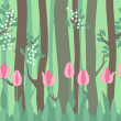 Seamless horizontal pattern with tulips and trees — Vetor de Stock  #66932439