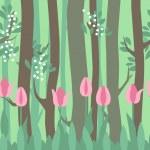 Sem costura padrão horizontal com tulipas e árvores — Vetor de Stock  #66932439