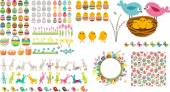 Big easter collection with eggs,birds and rabbits — Stock Vector