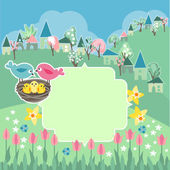 Meadow with spring flowers and birds — Stock Vector