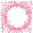 Pink wreath with stylized flowers — Stock Vector #70152337