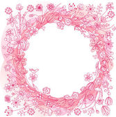 Pink wreath with stylized flowers — Cтоковый вектор