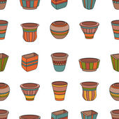Seamless pattern with clay flower pots. — Stock Vector